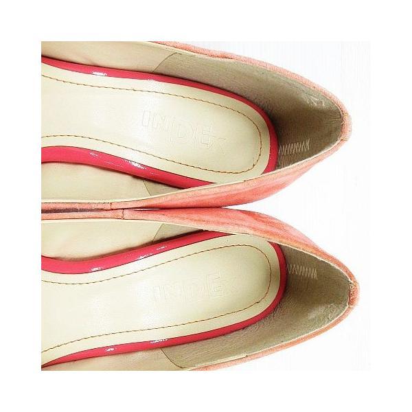 インデックス INDEX パンプス シューズ 靴 アーモンドトゥ ハイヒール フェイクスエード サーモンピンク 23.0 レディース【中古】【ベクトル 古着】