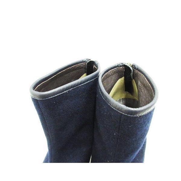 oso azul ブーティー ショート ブーツ シューズ メルトン ヒール 36.5 紺 ネイビー レディース/r9 レディース【中古】【ベクトル 古着】