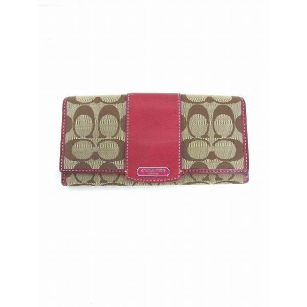 210e45f245b9 コーチ COACH 財布 長財布 二つ折り シグネチャー スナップボタン 茶 赤 ベージュ レッド /TT52