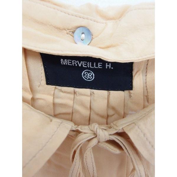 メルベイユアッシュ MERVEILLE H. シャツ ブラウス ステンカラー 襟取り外し 無地 シンプル 七分袖 茶 ベージュ /TT8 レディース|vectorpremium|03