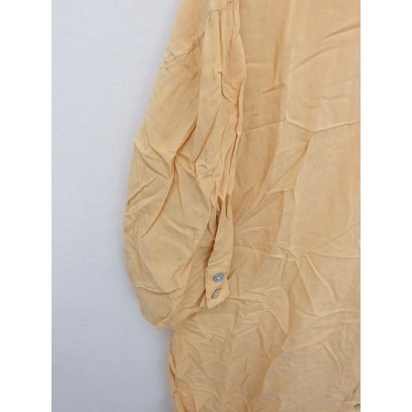 メルベイユアッシュ MERVEILLE H. シャツ ブラウス ステンカラー 襟取り外し 無地 シンプル 七分袖 茶 ベージュ /TT8 レディース|vectorpremium|06
