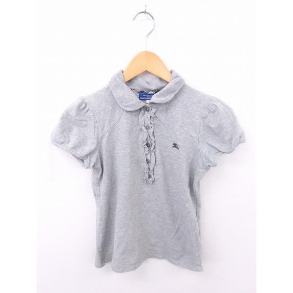 【中古】バーバリーブルーレーベル BURBERRY BLUE LABEL 国内正規品 シャツ ポロシャツ フリル 刺繍 綿 コットン 半袖 38 グレー 灰 【ベクトル 古着】|vectorpremium