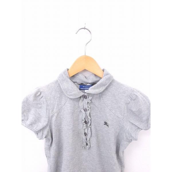 【中古】バーバリーブルーレーベル BURBERRY BLUE LABEL 国内正規品 シャツ ポロシャツ フリル 刺繍 綿 コットン 半袖 38 グレー 灰 【ベクトル 古着】|vectorpremium|04