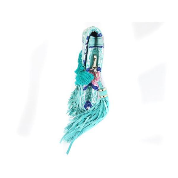 アルバローザ ALBA ROSA バック クラッチ インドジャガード 刺繍 フリンジ タッセル 緑 グリーン cys1213 レディース【中古】【ベクトル 古着】