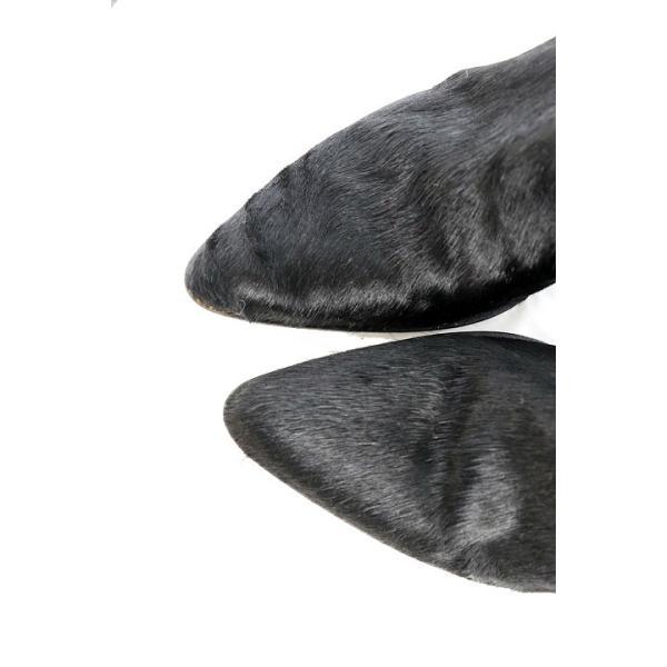 カリーノ carino シューズ ブーツ ジョッキー ロング ポインテッドトゥ フェイクファー 24.5 黒 ブラック /AY39 レディース【ベクトル 】