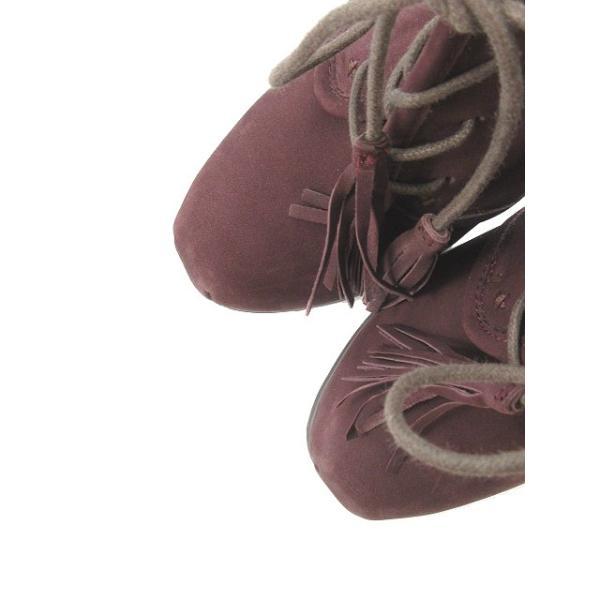 スティーブマデン STEVE MADDEN ブーツ ブーティ スクエアトゥ チャンキーヒール ハイヒール スエード 赤 レッド ボルドー /M2O45 レディース【中古】