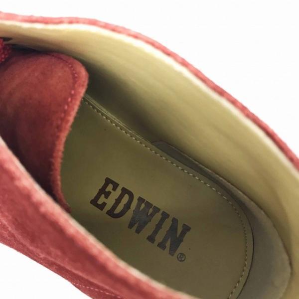 エドウィン EDWIN ブーツ チャッカ ショート スエード L 赤 レッド レディース【中古】【ベクトル 古着】