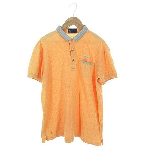 【中古】フレッドペリー FRED PERRY ポロシャツ 半袖 鹿の子 刺繍 ワンポイント ライン M オレンジ /AAO29 メンズ 【ベクトル 古着】|vectorpremium