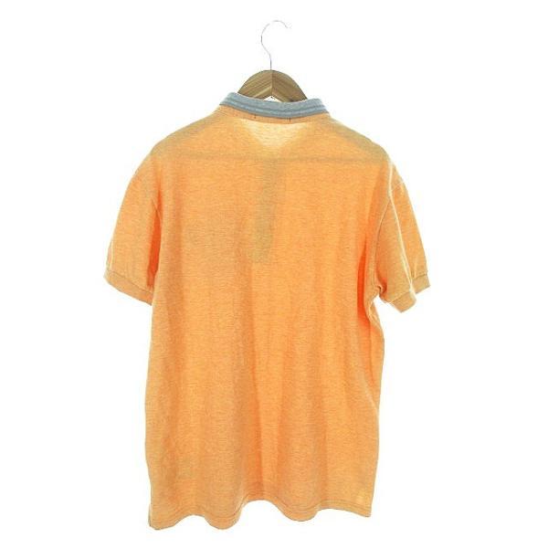 【中古】フレッドペリー FRED PERRY ポロシャツ 半袖 鹿の子 刺繍 ワンポイント ライン M オレンジ /AAO29 メンズ 【ベクトル 古着】|vectorpremium|02