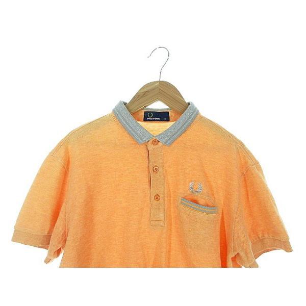 【中古】フレッドペリー FRED PERRY ポロシャツ 半袖 鹿の子 刺繍 ワンポイント ライン M オレンジ /AAO29 メンズ 【ベクトル 古着】|vectorpremium|03