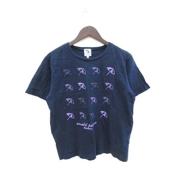 中古 アーノルドパーマータイムレスTimelessカットソーTシャツクルーネック半袖プリント2紺ネイビー/KBメンズ ベクトル