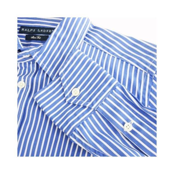 【中古】ラルフローレン RALPH LAUREN シャツ 長袖 ストライプ 通勤 ビジネス 11 青 ブルー /CK9 ★ レディース 【ベクトル 古着】|vectorpremium|04
