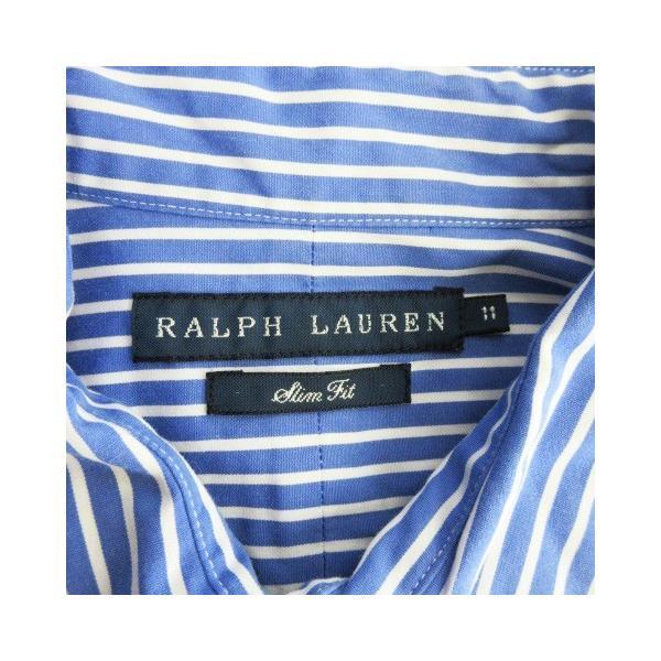 【中古】ラルフローレン RALPH LAUREN シャツ 長袖 ストライプ 通勤 ビジネス 11 青 ブルー /CK9 ★ レディース 【ベクトル 古着】|vectorpremium|06
