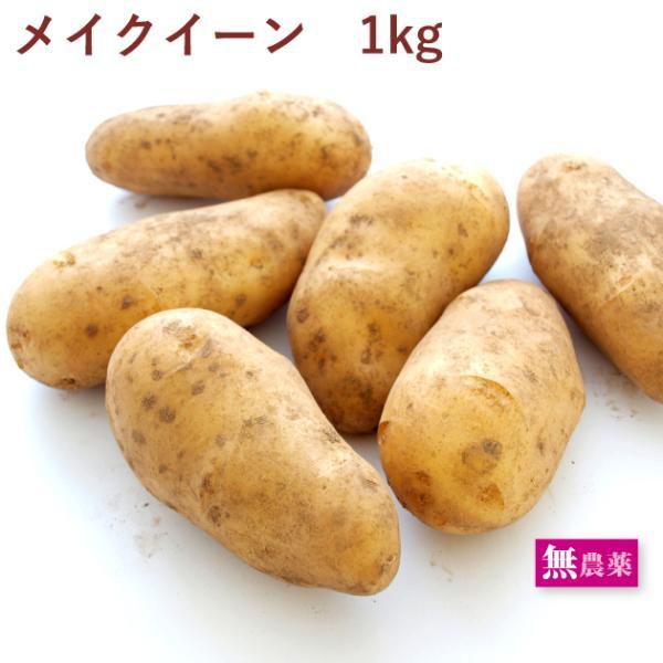 じゃがいも メイクイーン 1kg  無農薬栽培  送料別 ポイント消化 食品