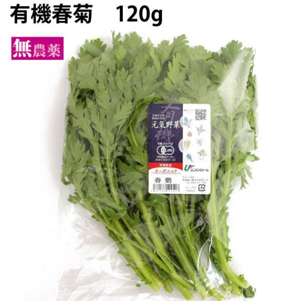 有機春菊 1把 茨城県産 無農薬栽培 ポイント消化 送料別