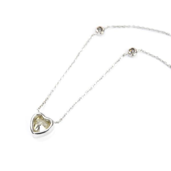 【限定1点もの】 K18WG ハートシェイプカット カラーダイヤモンド 0.91ct ペンダント ネックレス / 送料無料 鑑別書付 1点限り ジュエリー ギ