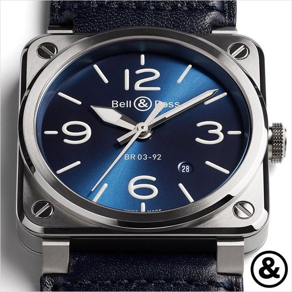 wholesale dealer 2f9d0 44d20 ベル&ロス腕時計 BR 03-92 BLUE BR STEELブルースティール ...