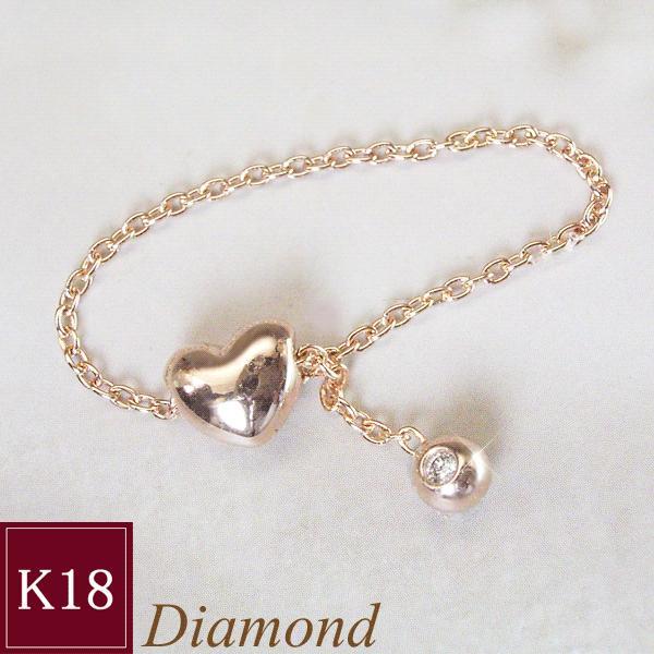 ダイヤモンド リング K18PG ハート 3営業日前後の発送予定