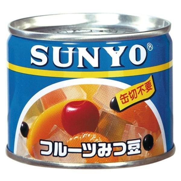 SUNYO 缶詰 フルーツみつ豆 48缶入 保存食 非常食 防災グッズ