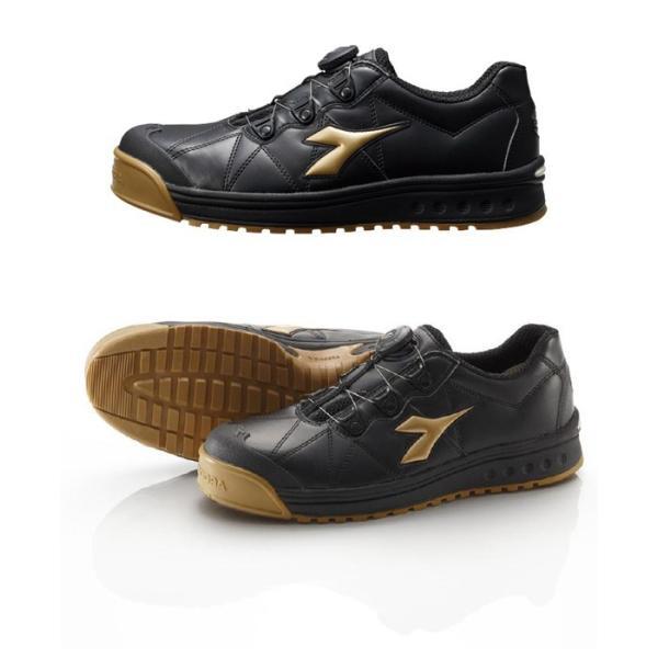 安全作業靴 DIADORA ディアドラ フィンチ ブラック/ゴールド FC-292 ローカット Boaコラボモデル スニーカー