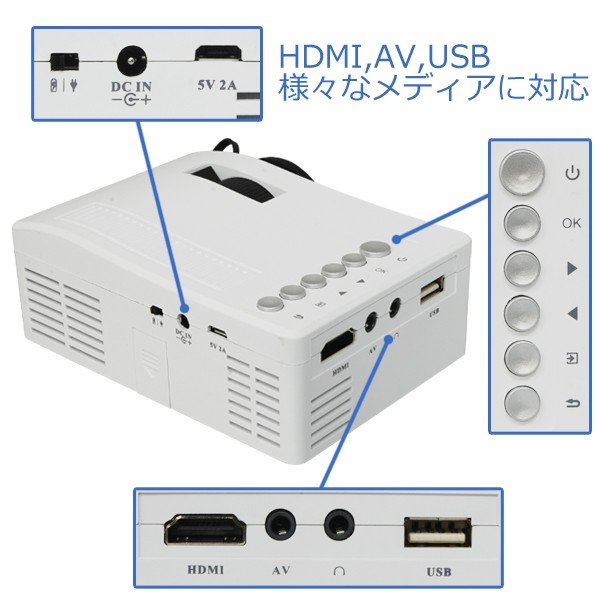 プロジェクター LED ホームシアター ミニ USB対応 フルHD HDMI ホームシネマ PC テレビ 映画 コンパクト SD USB 投影機 小型 軽量|versos|03