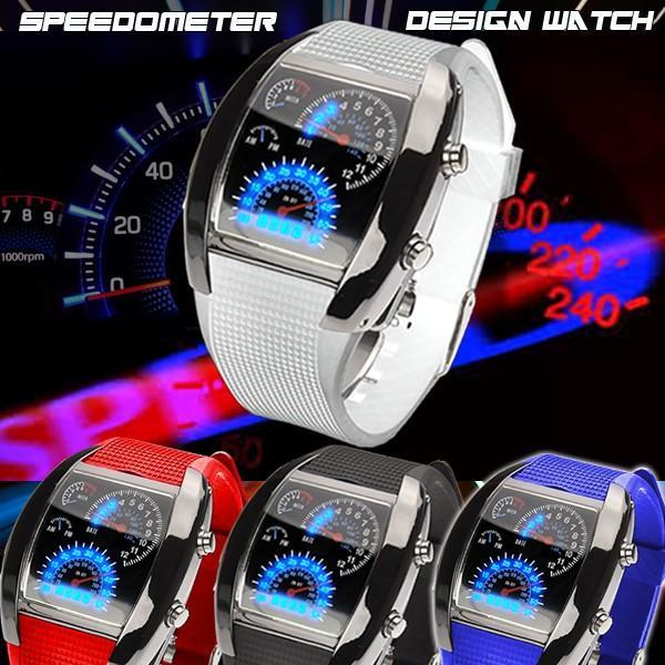 腕時計 メンズ LED デジタルウォッチ カレンダー 日付表示 LEDデジタル腕時計 スピードメーター 速度計モチーフ 時計 デジタル表示 タコメーター おしゃれ|versos