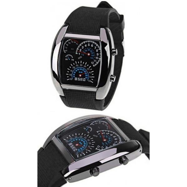 腕時計 メンズ LED デジタルウォッチ カレンダー 日付表示 LEDデジタル腕時計 スピードメーター 速度計モチーフ 時計 デジタル表示 タコメーター おしゃれ|versos|02