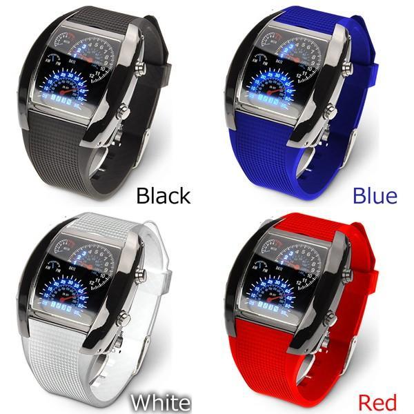 腕時計 メンズ LED デジタルウォッチ カレンダー 日付表示 LEDデジタル腕時計 スピードメーター 速度計モチーフ 時計 デジタル表示 タコメーター おしゃれ|versos|04