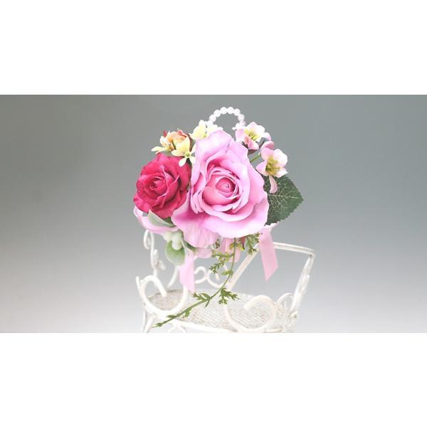 スイートピンク色のバラのコサージュ vertpalette-store 03