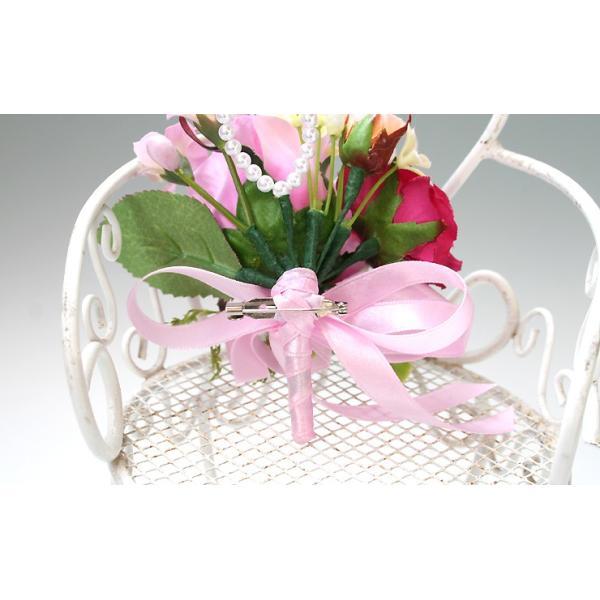 スイートピンク色のバラのコサージュ vertpalette-store 05