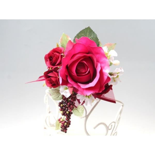 赤ワイン色のバラのコサージュ vertpalette-store 03