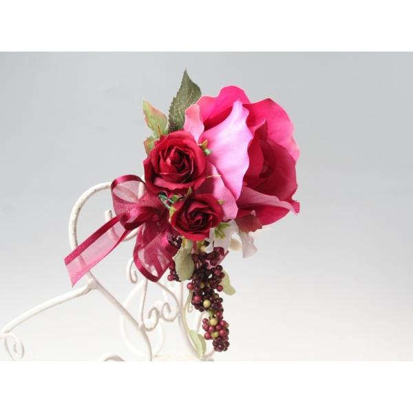 赤ワイン色のバラのコサージュ vertpalette-store 04