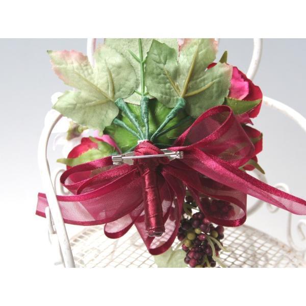 赤ワイン色のバラのコサージュ vertpalette-store 06