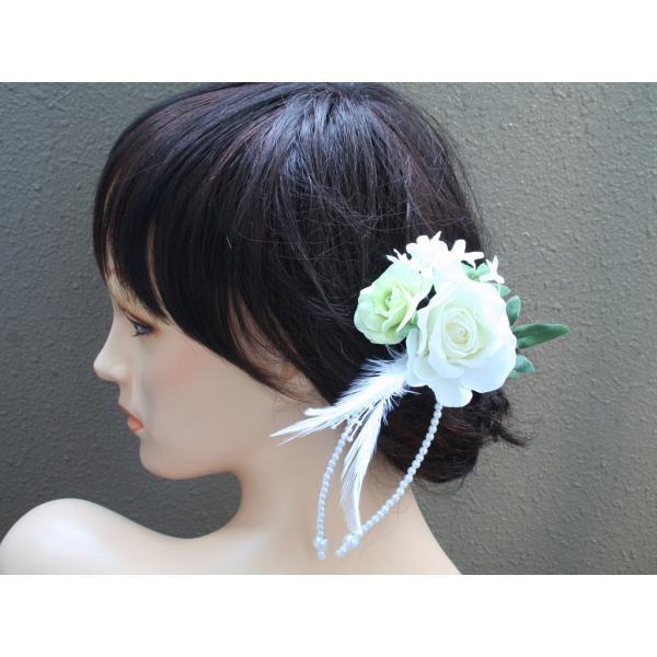 ホワイトローズとパールのヘッドドレス(髪飾り):HA023 vertpalette-store 02