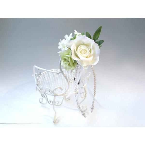 ホワイトローズとパールのヘッドドレス(髪飾り):HA023 vertpalette-store 03