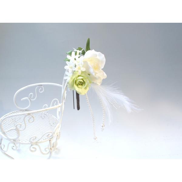 ホワイトローズとパールのヘッドドレス(髪飾り):HA023 vertpalette-store 04