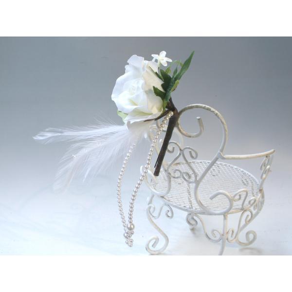 ホワイトローズとパールのヘッドドレス(髪飾り):HA023 vertpalette-store 05