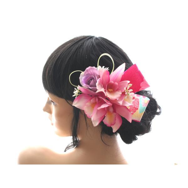 人気の和リボンを入れたシンビジュームの髪飾り|vertpalette-store|02