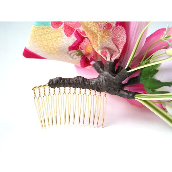 人気の和リボンを入れたシンビジュームの髪飾り|vertpalette-store|06