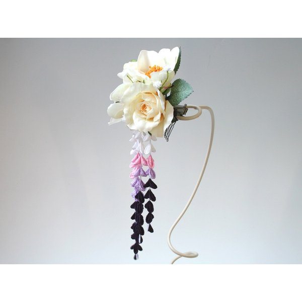 パープル系の下がりが入った粋な髪飾り(コーム):HA034 vertpalette-store 03