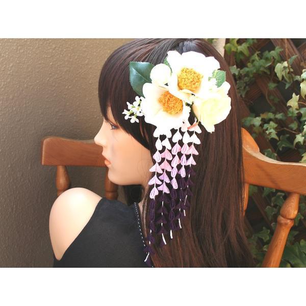 パープル系の下がりが入った粋な髪飾り(コーム):HA034 vertpalette-store 05