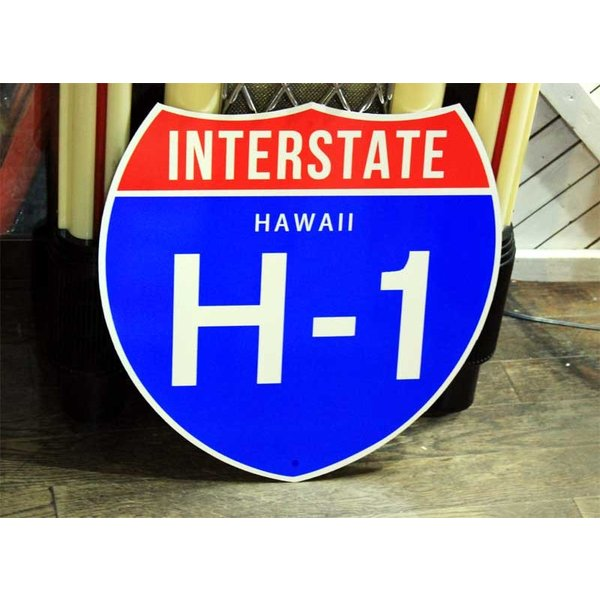 ハワイ H-1 約46×46センチ アメリカの高速道路の標識 トラフィックサイン
