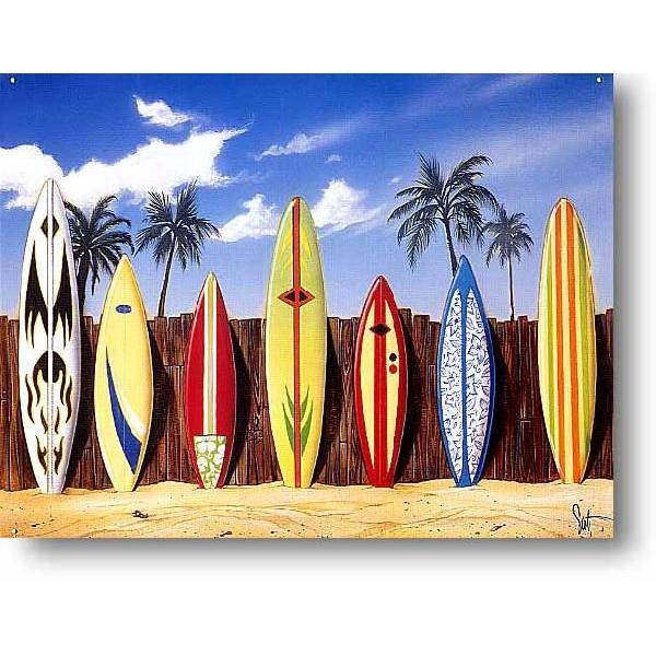 サーフボードいっぱい 波乗り系 サーフィン アメリカンブリキ看板