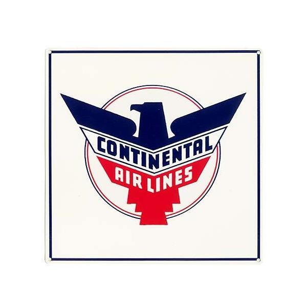 コンチネンタル航空 オールドロゴ CONTINENTAL AIRLINES ハンドメイドのエナメル加工 アメリカンブリキ看板 アメリカ 雑貨 アメリカン雑貨