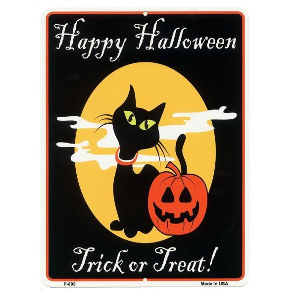 ハロウィン アメリカンブリキ看板 当店Sサイズ 黒猫&かぼちゃ