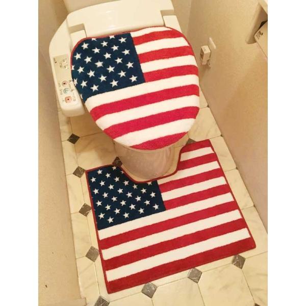 星条旗柄 洗浄温暖用 トイレ2点セット ふたカバー トイレマット|veryberry