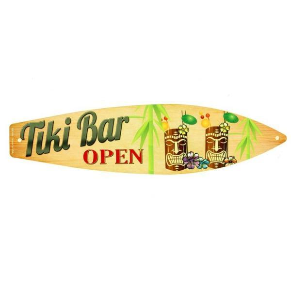 ティキ バー オープン Tiki Bar OPEN サーフボード型 アメリカンブリキ看板