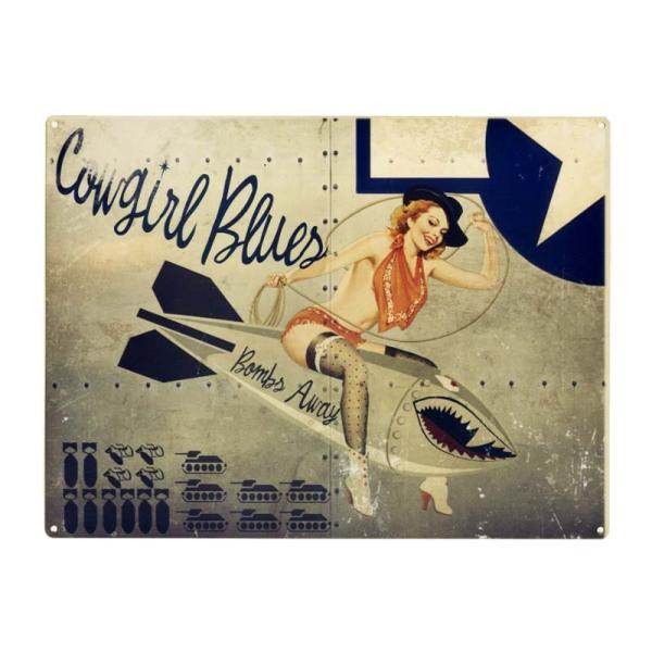 ピンナップガール ノーズアートシリーズ Cowgirl Blues エナメル加工 当店激レア評価 アメリカンブリキ看板
