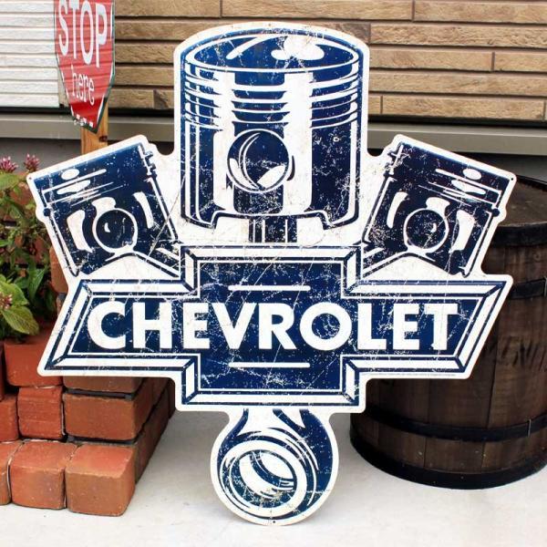 シボレー Chevy Pistons 大型サイズ レトロ調 エンボス加工 アメリカンブリキ看板