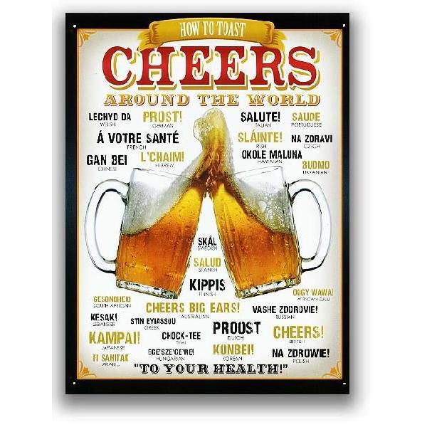BEER ビールで乾杯 CHEERS AROUND THE WORLD アメリカンブリキ看板